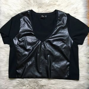 Asos black v neck faux leather crop top size 8